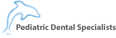 Pedatric Dental Specialist logo, has a dolphin